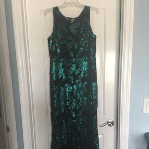 Badgley Mischka black /green sequin long gown